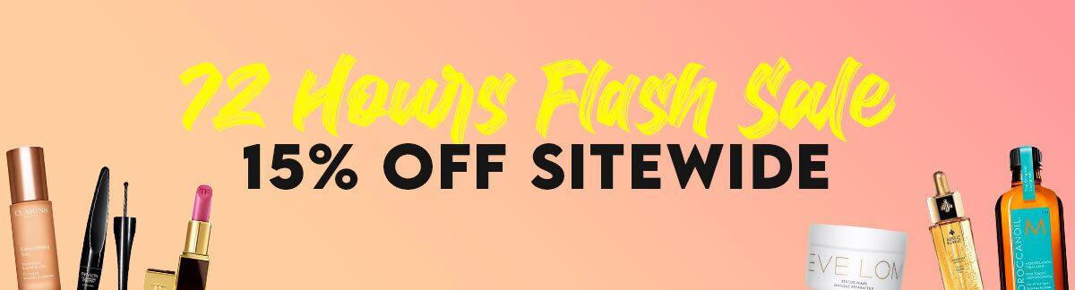 flash sale, limited time offer, 15% off, skincare sale, clarins, dermalogica, shiseido, laura mercier, kerastase, guerlain, jo malone
