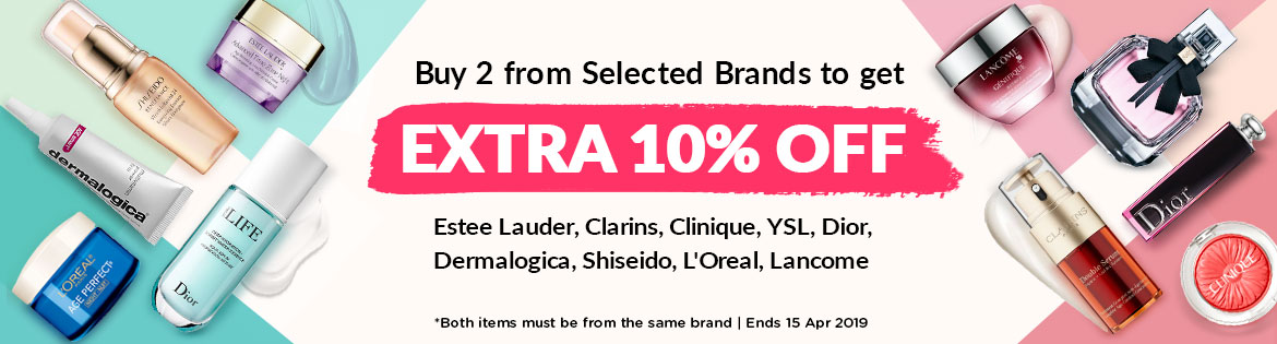 Best Brands Bundle: Buy 2 Items to Get Extra 10% Off! Estee Lauder, Clarins, Clinique, YSL, Dior, Dermalogica, Shiseido, L'Oreal, Lancome. *Both items must be from the same brand | Ends 15 Apr 2019
