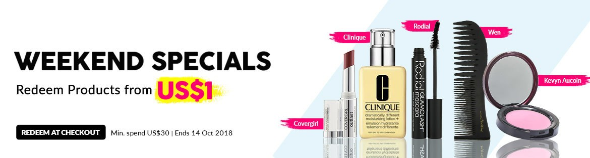 Weekend Specials, Ends 14 Oct 2018. Redeem Great Products from US$1 (min. spend US$30)