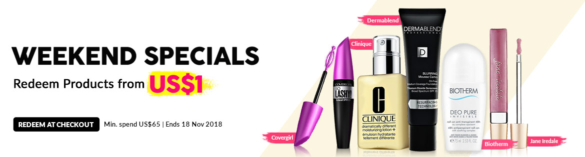 Weekend Specials, Ends 18 Nov 2018. Redeem Great Products from US$1 (min. spend US$65)