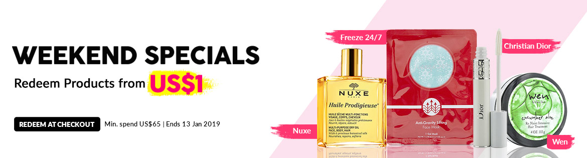 Weekend Specials, Ends 13 Jan 2019. Redeem Great Products from US$1 (min. spend US$65)