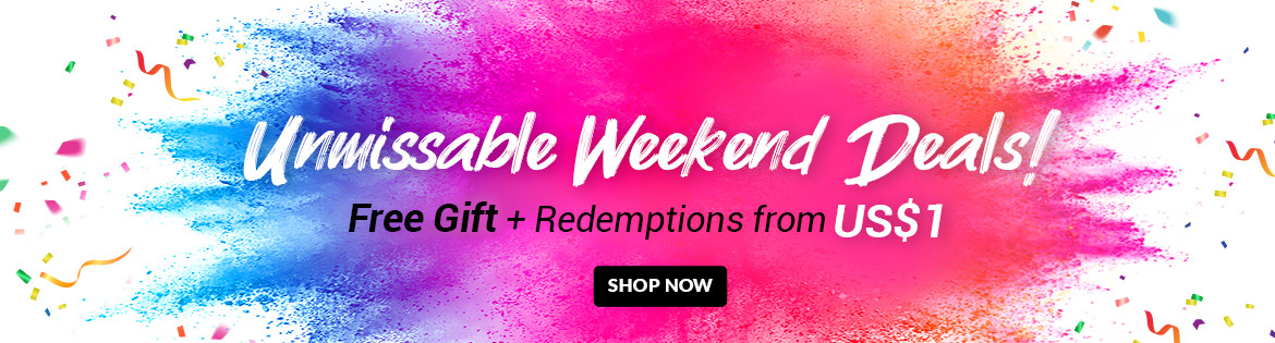 Crazy Weekend Specials, Ends 23 Jun 2019. Redeem Great Products from US$1 (min. spend US$65)