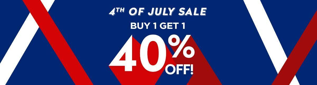 happy july 4th, independence day sale, buy 1 get 1 40% off, sale, sitewide sale, discount
