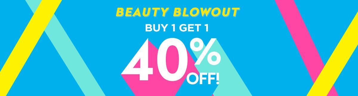 beauty blowout, sale, buy 1 get 1 40% off, sitewide sale, discount on the lowest-priced items