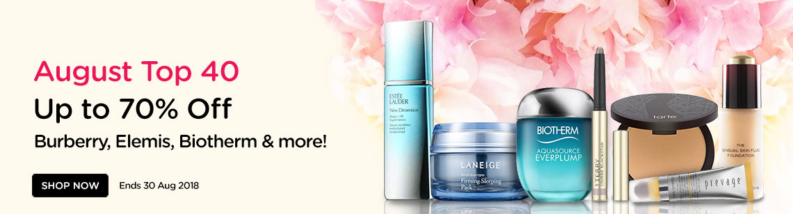 August Top 40 Up to 70% Off! Burberry, Elemis, Guerlain, Sebastian & more! Ends 30 Aug 2018