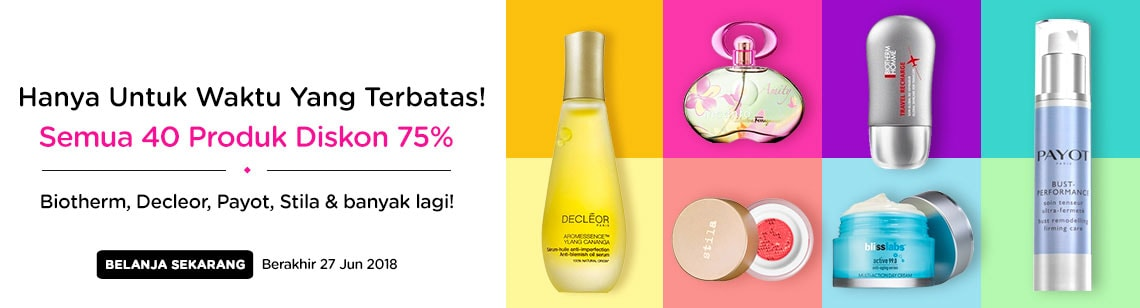 40 beauty lines all 75% off decleor stila bliss biotherm payot ferragamo