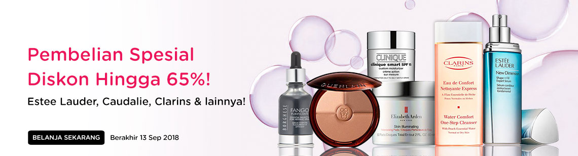 Special Purchase Up to 65% Off! Estee Lauder, Caudalie, Clarins & more! Ends 13 Sep 2018