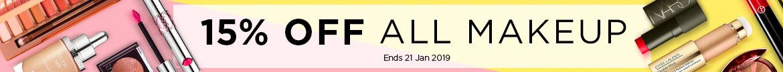 Huge Sale: Extra 15% Off Makeup! Ends 21 Jan 2019