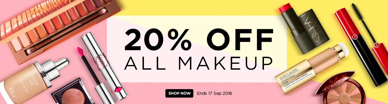 Massive Makeup Sale! Extra 20% Off ALL Makeup Ends 17 Sep 2018