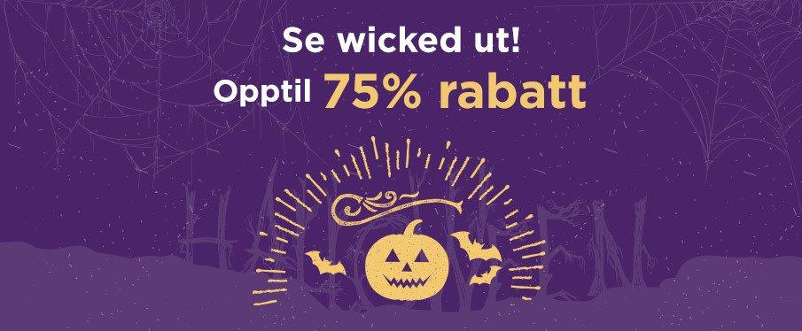 Skremmenede gode halloween-tilbud opptil 75 % rabatt!
