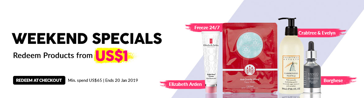 Weekend Specials, Ends 20 Jan 2019. Redeem Great Products from US$1 (min. spend US$65)