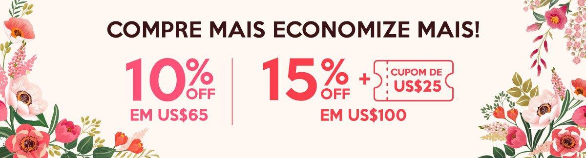 Promoção Estoque de Beleza: Compre Mais Economize Mais 10% Off em US$65, 15% Off + Cupom de US$25 em US$100!