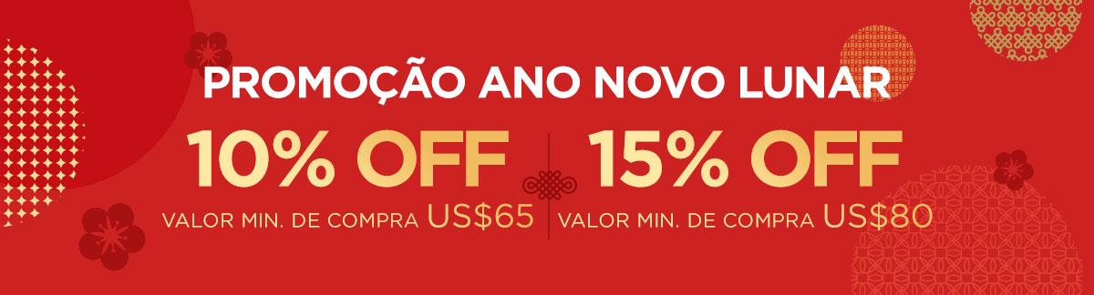Promoção Ano Novo Lunar: 10% Off min. de compra US$65 |  15% Off min. de compra US$80