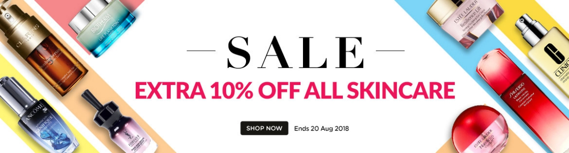 Extra 10% Off Skincare *Min spend US$65   Ends 20 Aug 2018