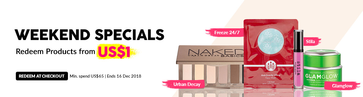 Weekend Specials, Ends 16 Dec 2018. Redeem Great Products from US$1 (min. spend US$65)
