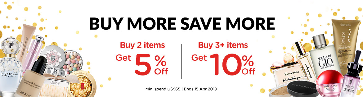 Buy More Save More: Buy 2 items, Get 5% Off! Buy 3+ items, Get 10% Off! Min. spend US$65   Ends 15 Apr 2019