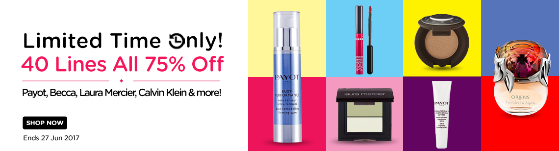 40 lines 75% off payot bust performance korres lip gloss laura mercier eye shadow dup becca van clef and arpel perfume