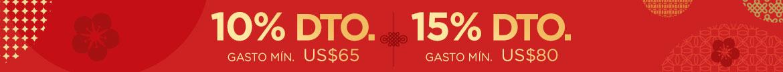 Oferta de Año Nuevo Lunar: 10% Dto. en gasto mín. US$65 |  15% Dto. en gasto mín. US$80