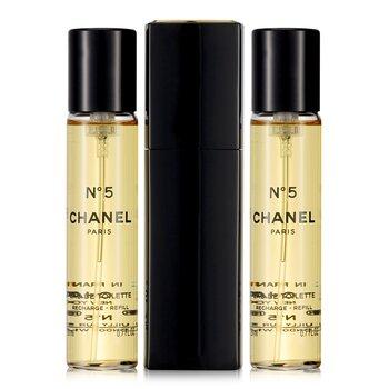 Chanel No.5 Eau De Toilette Purse Semprot dan 2 Isi Ulang ( Edisi Terbatas )  3x20ml/0.7oz