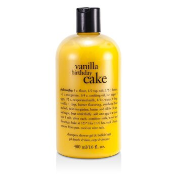 Vanilla Birthday Cake Shampoo, Shower Gel & Bubble Bath  480ml/16oz