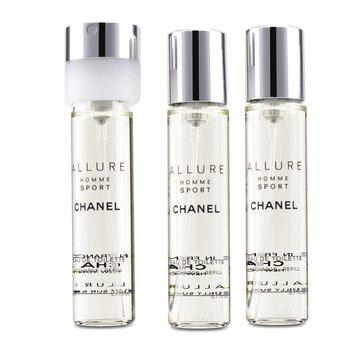 Allure Homme Sport Eau De Toilette Travel Spray Refills (3 Refills) 3x20ml/0.7oz
