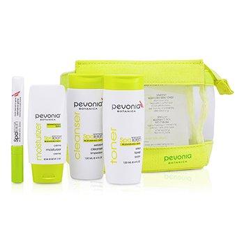 Pevonia Botanica SpaTeen Set Piel Manchada: Limpiador + Tónico + Hidratante + Bolsa  3pcs+1bag