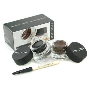 Zestaw do makijażu oczu Long Wear Gel Eyeliner Duo: 2x Eyeliner w żelu 3g (Black Ink, Sepia Ink) + Pędzelek do eyelinera  3 sztuki