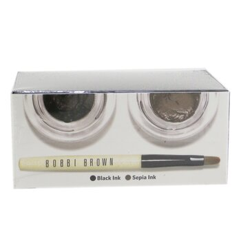 Long Wear Gel Eyeliner Duo: 2x Gel Eyeliner 3g (Black Ink, Sepia Ink) + Mini Ultra Fine Eye Liner Brush  3pcs