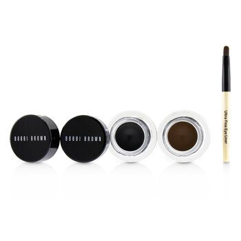 Bobbi Brown Long Wear Gel Liner Mata Duo: 2x Gel Liner Mata 3g ( Black Ink, Sepia Ink ) + Mini Ultra Fine Kuas Liner Mata  3pcs