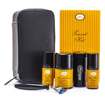 The Art Of Shaving Travel Kit (Lemon): Razor+ Shaving Brush+ Pre-Shave Oil 30ml+ Shaving Cream 45ml+ A/S Balm 30ml+ Case  5pcs+1case