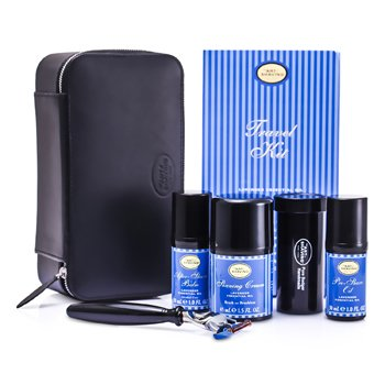 The Art Of Shaving Kit de viagem ( Lavanda) :Gilette de barba +Pincel de barba+ Óleo pre barba 30ml+ Creme de barba 45ml+Bálsamo após barba 30ml+ Case  5pcs+1case