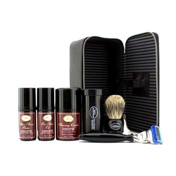 The Art Of Shaving Travel Kit (Sandalwood): Razor+ Shaving Brush+ Pre-Shave Oil 30ml+ Shaving Cream 45ml+ A/S Balm 30ml+ Case  5pcs+1case