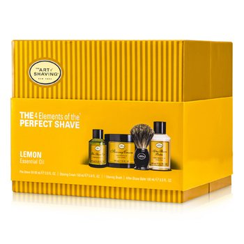 The 4 Elements Of The Perfect Shave - Lemon (Pre Shave Oil+ Shave Crm+ A/S Balm+ Brush)  4pcs