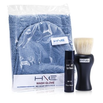 H\E Minerals Kit: Lip Balm SPF 15 + Facial Brush + Wash Glove + Bag  3pcs+1bag