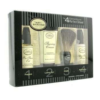 Starter Kit - Unscented: Pre Shave Oil + Shaving Cream + Brush + After Shave Balm  4pcs