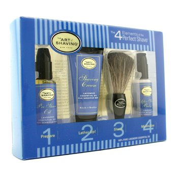 Starter Kit - Lavender: Pre Shave Oil + Shaving Cream + Brush + After Shave Balm  4pcs