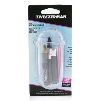 Mini Brow Rescue Kit: Slant Tweezer + Browmousse + Brow Brush + Eyenhance Brow Highlighter + Case  4pcs+1case