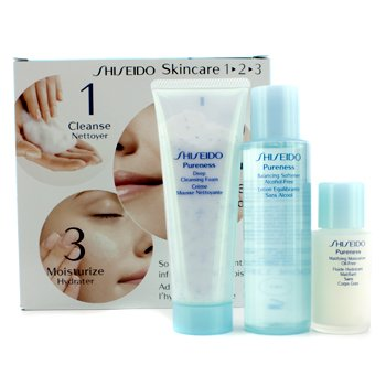Shiseido Pureness Kit: Cleasing Foam 75ml/2.7oz + Softener 100ml/3.3oz + Moisturizer 30ml/1oz  3pcs
