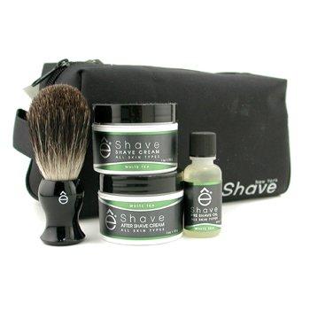 EShave White Tea Start Up Kit: Pre Shave Oil + Shave Cream + After Shave Cream + Brush + Bag  4pcs+1bag