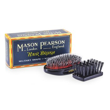 Boar Bristle & Nylon - Medium Junior Military Nylon & Bristle Hair Brush (Dark Ruby)  1pc