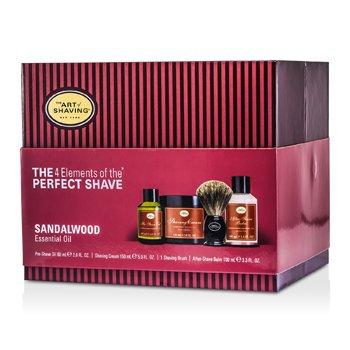 The 4 Elements Afeitado Perfecto- Sandalwood (Embalaje Nuevo) ( Aceite Pre afeitado + Crema Afeitado+ bálsamo A/S + Brocha )  4pcs