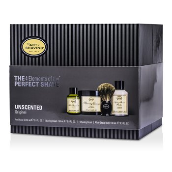The 4 Elements Of The Perfect Shave - Uten Duft ( Ny pakning ) ( Pre Shave Oil + Barberkrem + A/S Balm + Børste )  4pcs