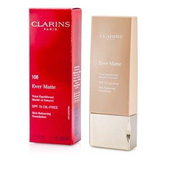 Clarins Beztłuszczowy, matujący podkład w płynie Ever Matte Skin Balancing Oil Free Foundation SPF 15 - #108 Sand  30ml/1.1oz