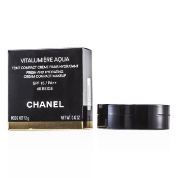 Chanel Vitalumiere Aqua Fresh And Hydrating Cream Compact MakeUp SPF 15 - # 40 Beige  12g/0.42oz