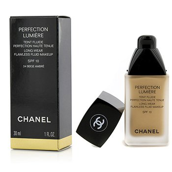 Chanel Base liquida Perfection Lumiere Long Wear Flawless Fluid Make Up SPF 10 - # 34 Beige Ambre  30ml/1oz