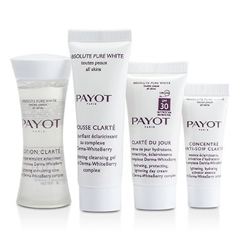 Absolute Pure White Kit: Lotion 30ml +  Mousse Clarte 25ml + Clarte Du Jour 15ml + Concentre Anti-soif Clarte 10ml  4pcs