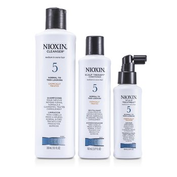 System 5 Kit For Medium to Coarse & Normal to Thin-Looking Hair: Cleanser 300ml + Scalp Therapy 150ml + Scalp Treatment 100ml  3pcs