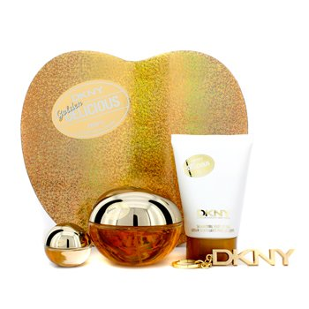 Estuche Golden Delicious : Eau De Parfum Spray 100ml/3.4oz + Loción Corporal 100ml/3.4oz + Miniatura + Llavero  4pcs