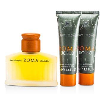 Roma Coffret: Eau De Toilette Spray 75ml/2.5oz + Shower & Bath Gel 50ml/1.6oz x 2  3pcs