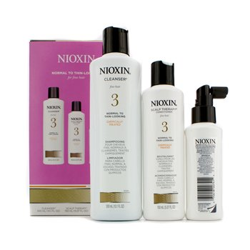Nioxin System 3 System Kit For Fine Hair, Chemically Treated, Normal to Thin-Looking Hair: Cleanser 300ml + Scalp Therapy Conditioner 150ml + Scalp Treatment 100ml  3pcs